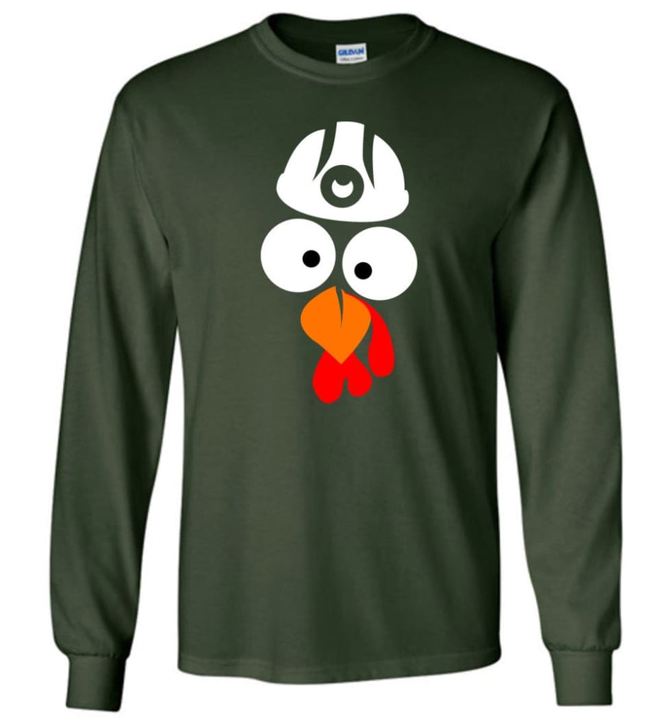 Turkey Face Coal Miners Thanksgiving Gifts Long Sleeve T-Shirt - Forest Green / M