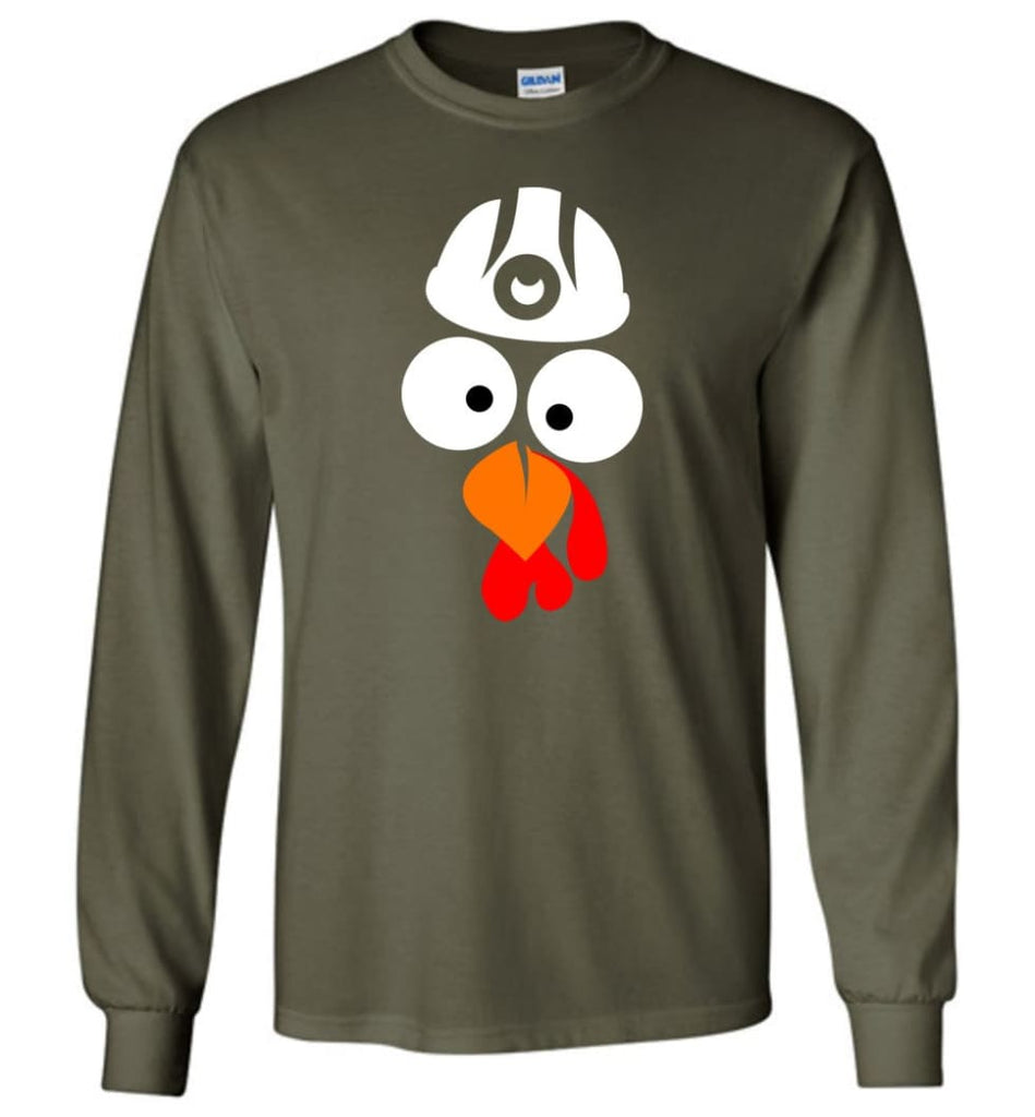 Turkey Face Coal Miners Thanksgiving Gifts Long Sleeve T-Shirt - Military Green / M