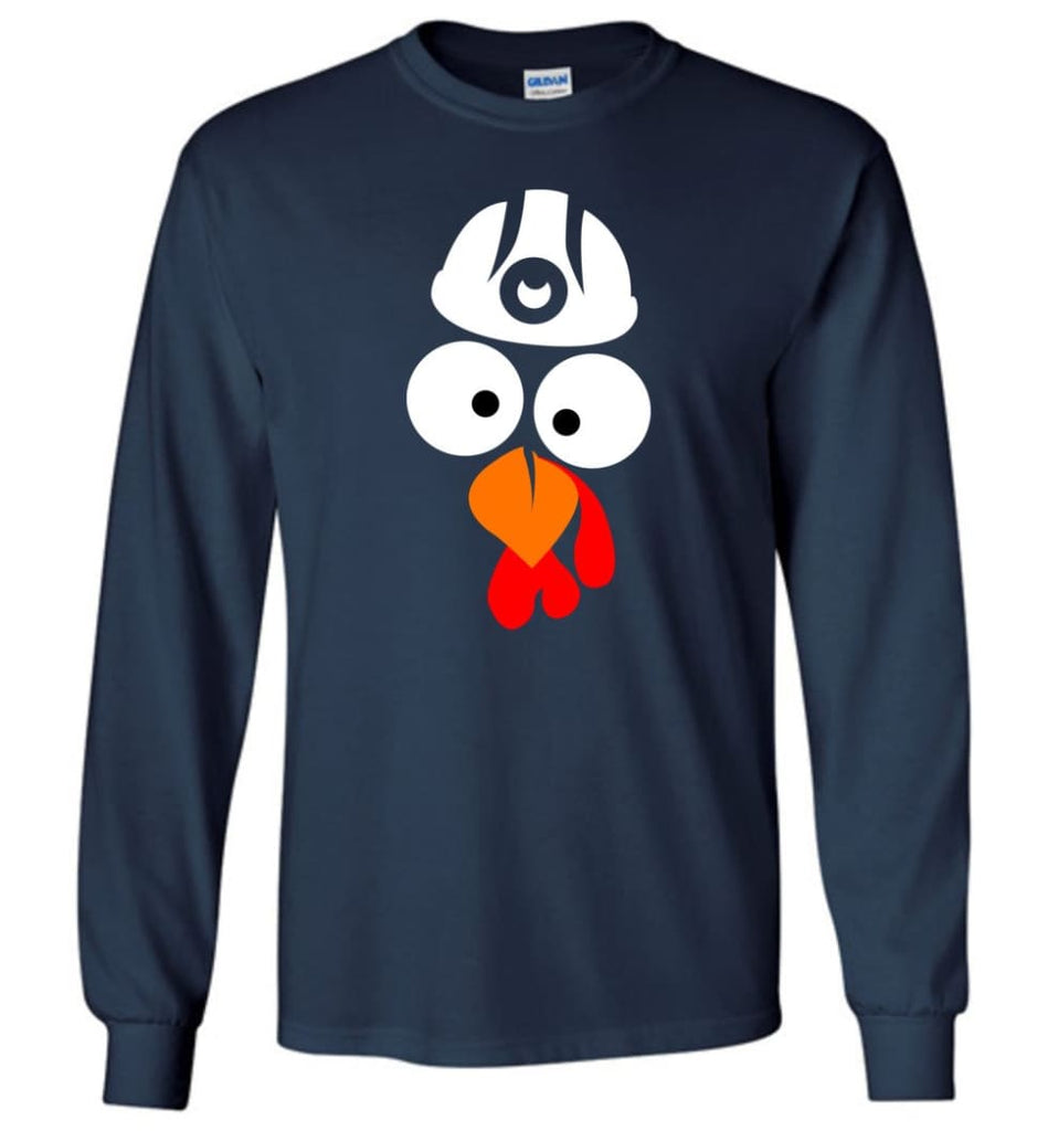 Turkey Face Coal Miners Thanksgiving Gifts Long Sleeve T-Shirt - Navy / M