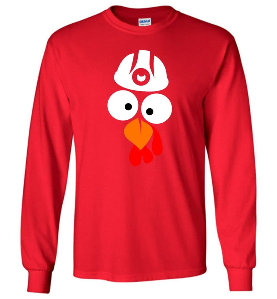 Turkey Face Coal Miners Thanksgiving Gifts Long Sleeve T-Shirt - Red / M