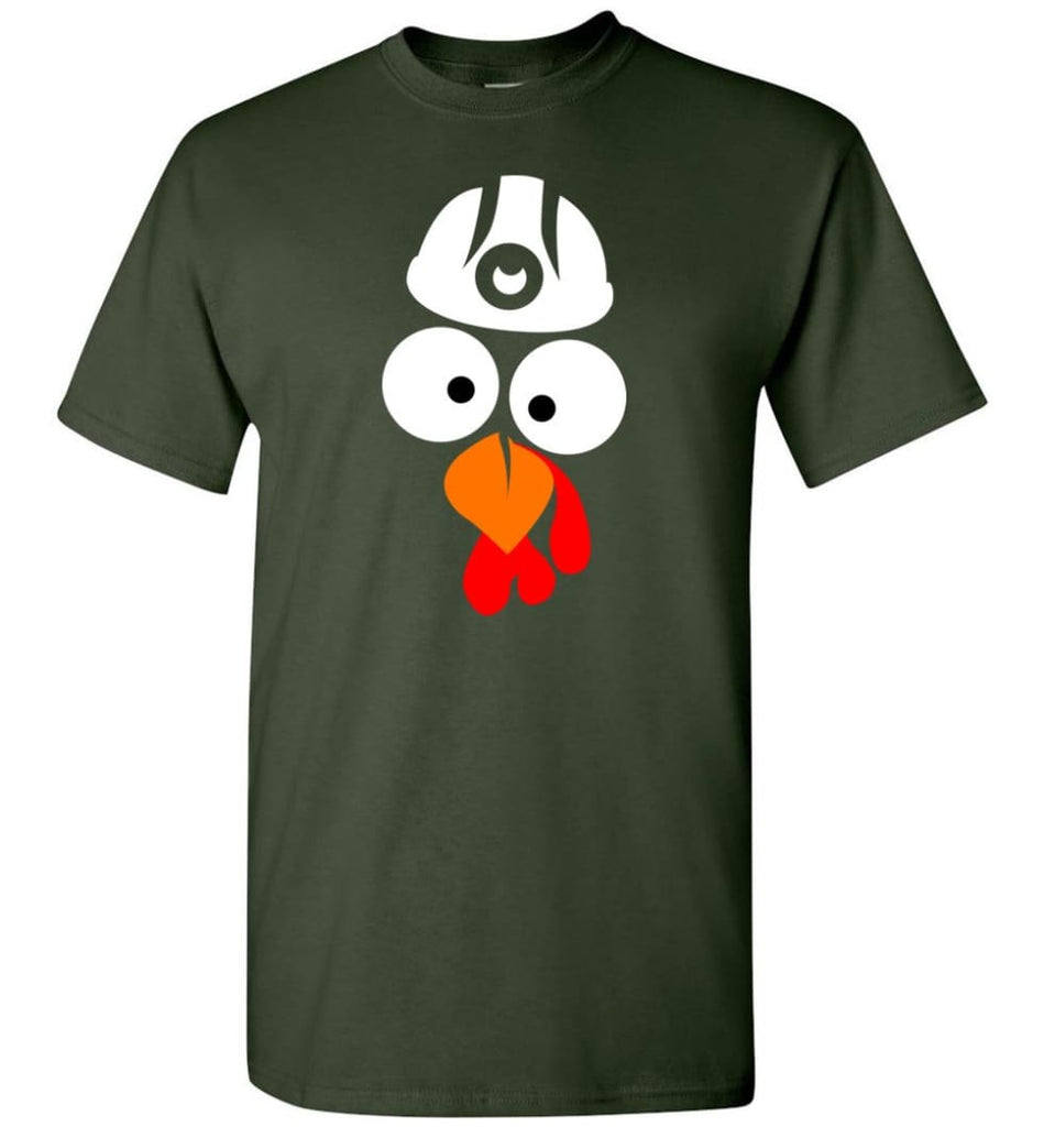 Turkey Face Coal Miners Thanksgiving Gifts T-Shirt - Forest Green / S