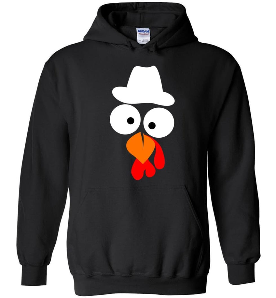 Turkey Face Cowboy Thanksgiving Gifts Hoodie - Black / M