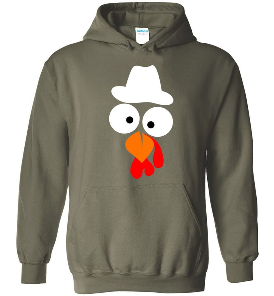 Turkey Face Cowboy Thanksgiving Gifts Hoodie - Military Green / M