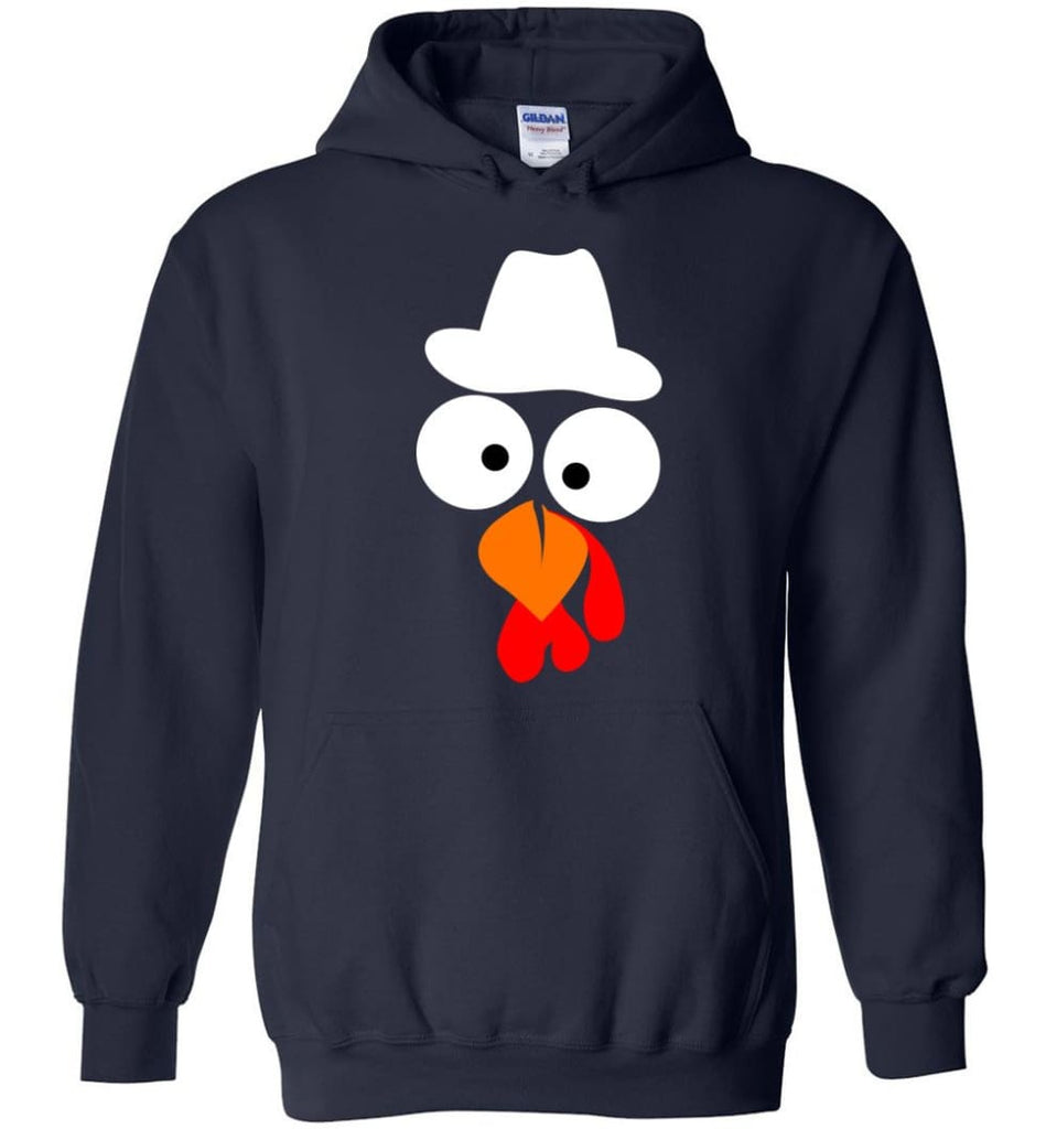 Turkey Face Cowboy Thanksgiving Gifts Hoodie - Navy / M