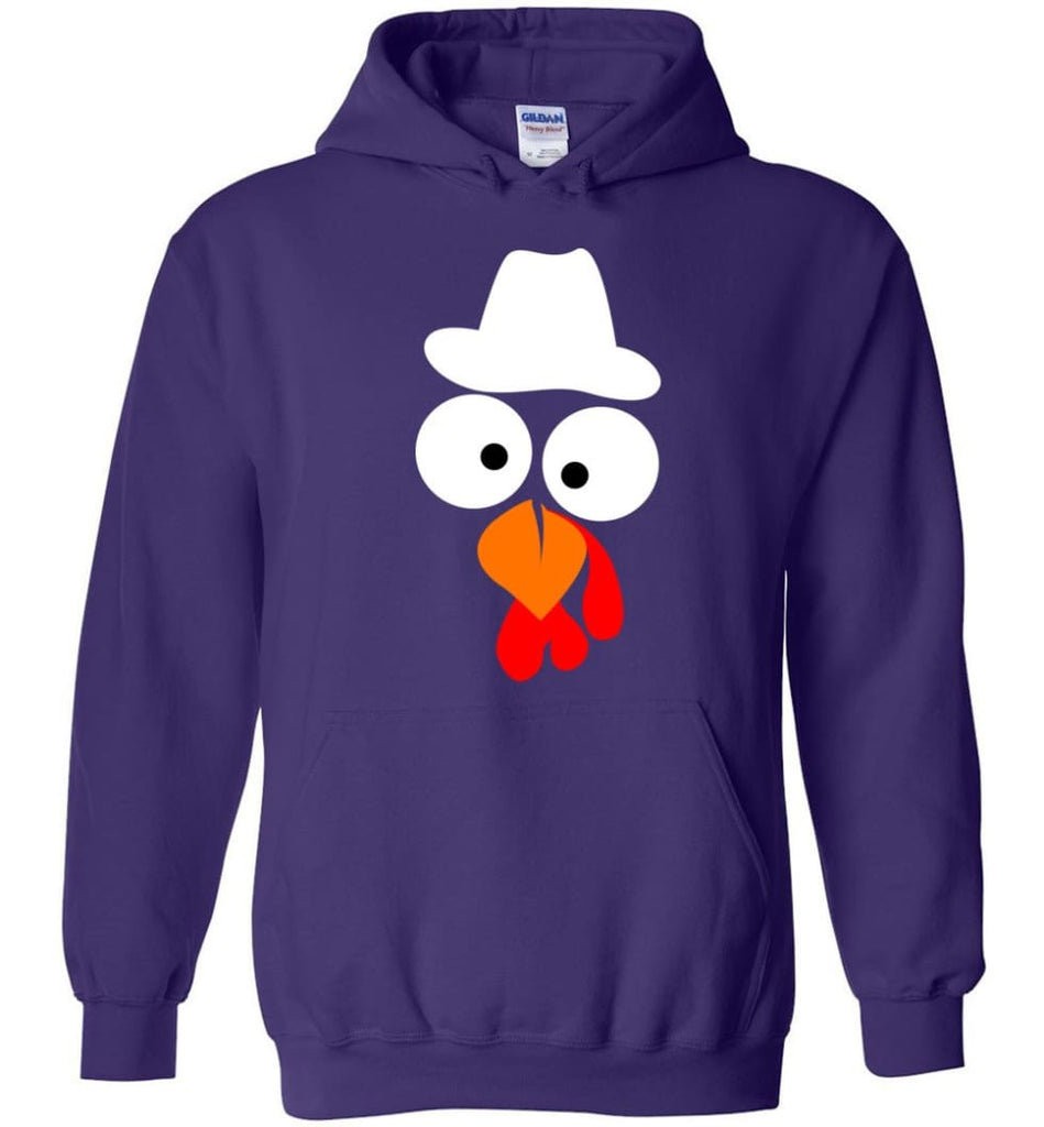 Turkey Face Cowboy Thanksgiving Gifts Hoodie - Purple / M