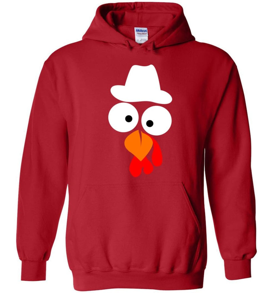 Turkey Face Cowboy Thanksgiving Gifts Hoodie - Red / M