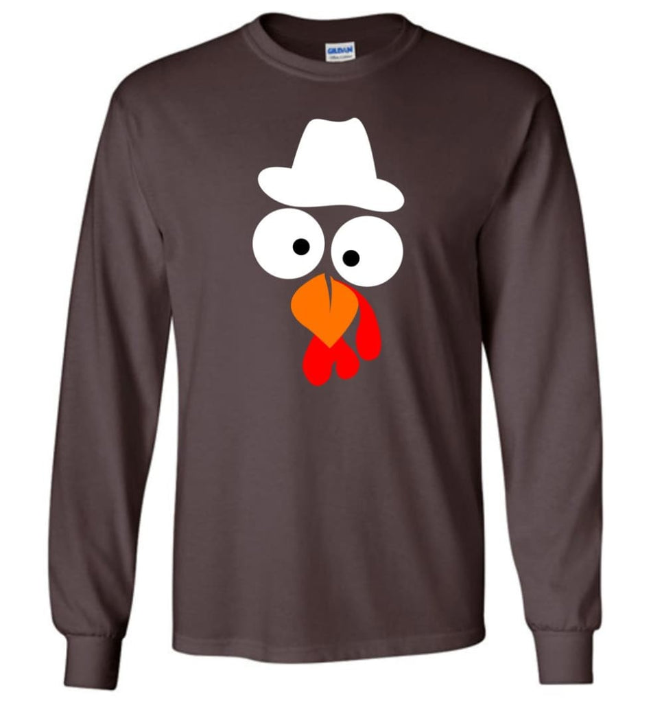 Turkey Face Cowboy Thanksgiving Gifts Long Sleeve T-Shirt - Dark Chocolate / M