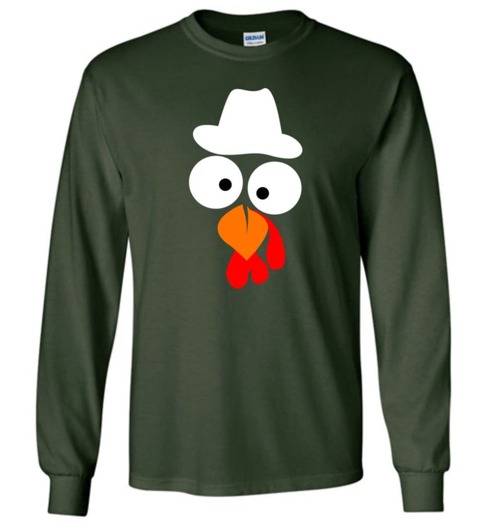 Turkey Face Cowboy Thanksgiving Gifts Long Sleeve T-Shirt - Forest Green / M