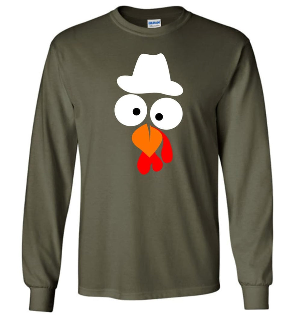 Turkey Face Cowboy Thanksgiving Gifts Long Sleeve T-Shirt - Military Green / M