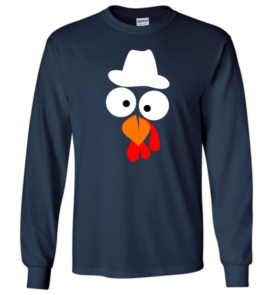 Turkey Face Cowboy Thanksgiving Gifts Long Sleeve T-Shirt - Navy / M