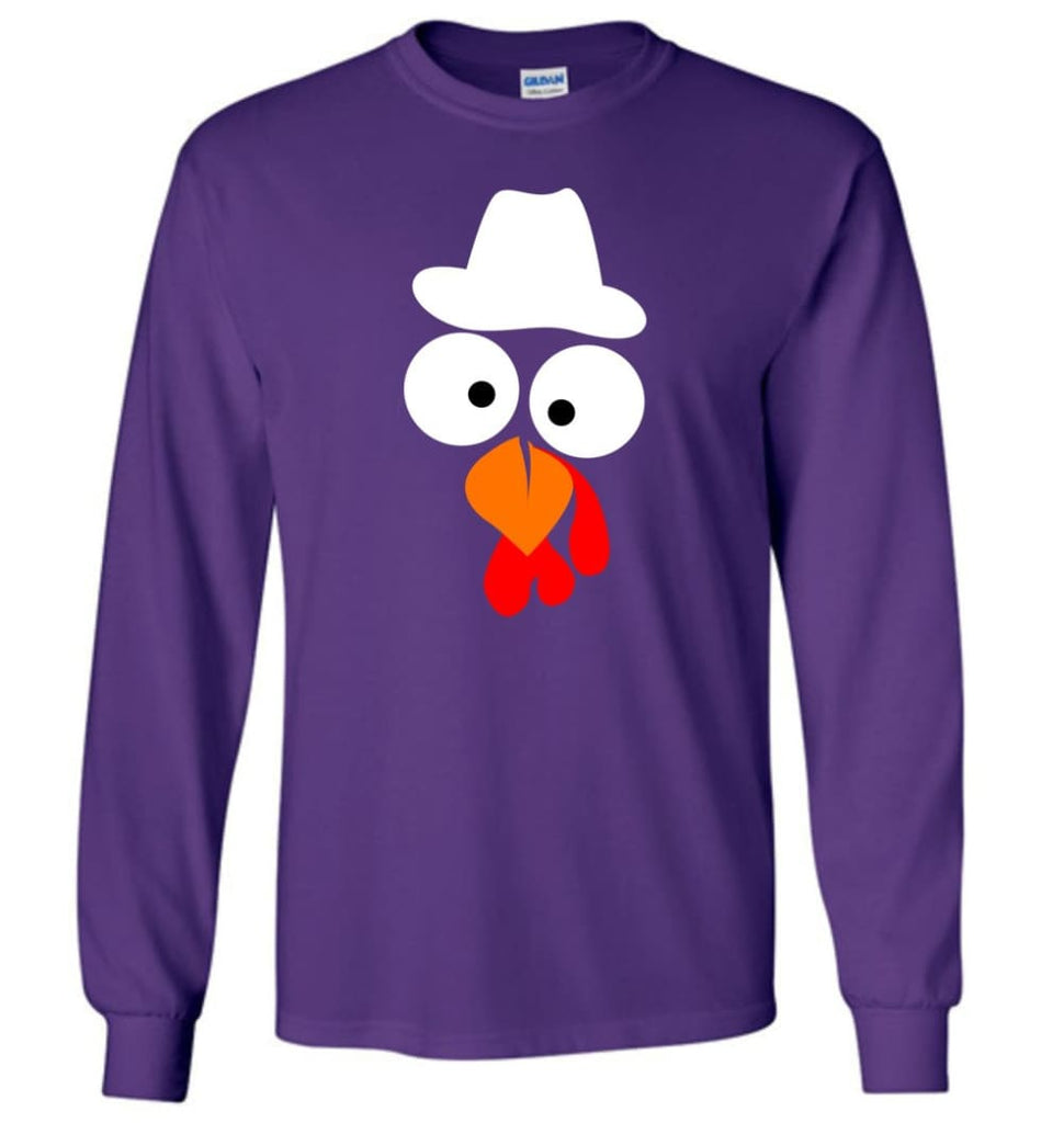 Turkey Face Cowboy Thanksgiving Gifts Long Sleeve T-Shirt - Purple / M