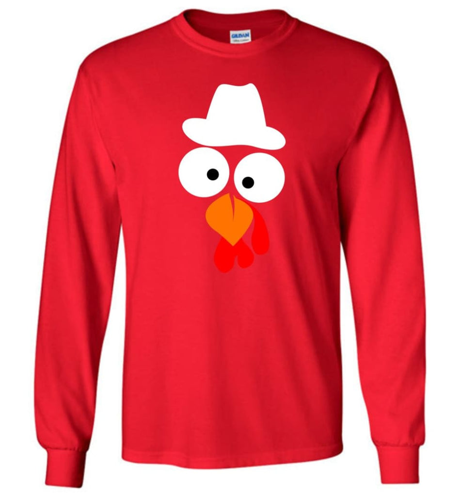 Turkey Face Cowboy Thanksgiving Gifts Long Sleeve T-Shirt - Red / M