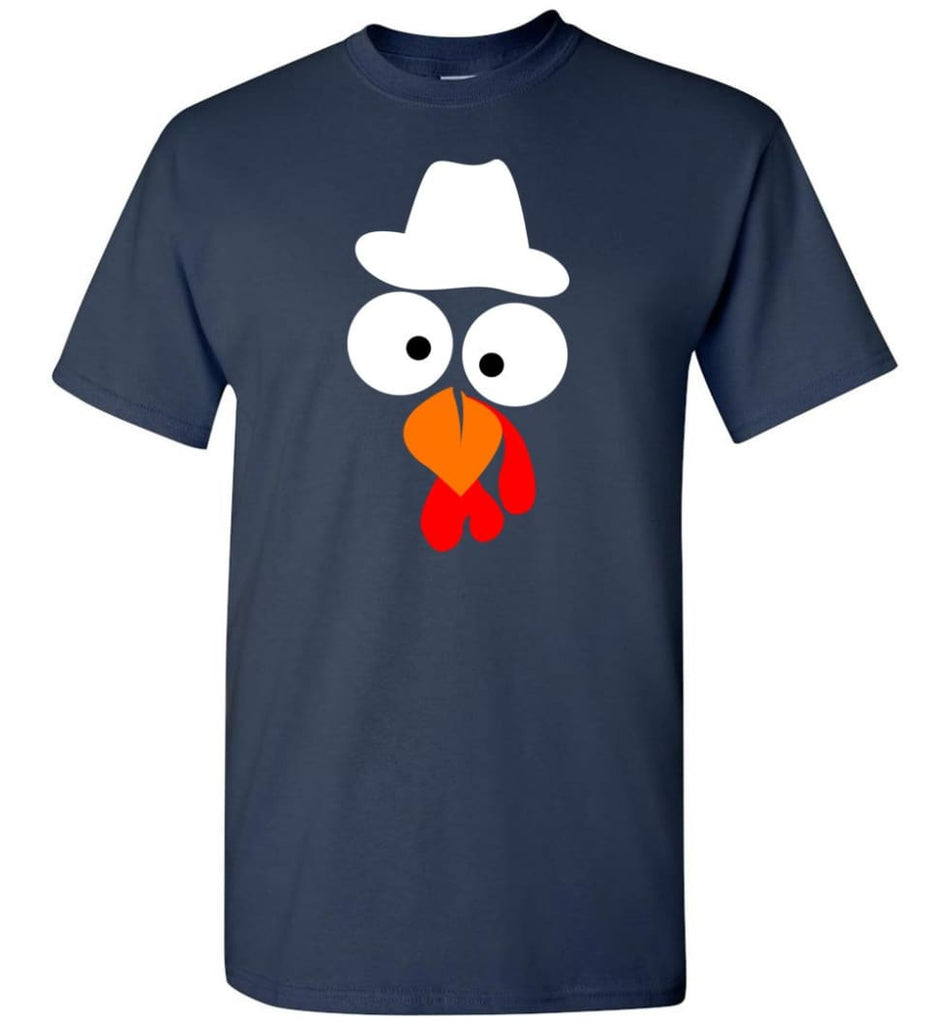 Turkey Face Cowboy Thanksgiving Gifts T-Shirt - Navy / S