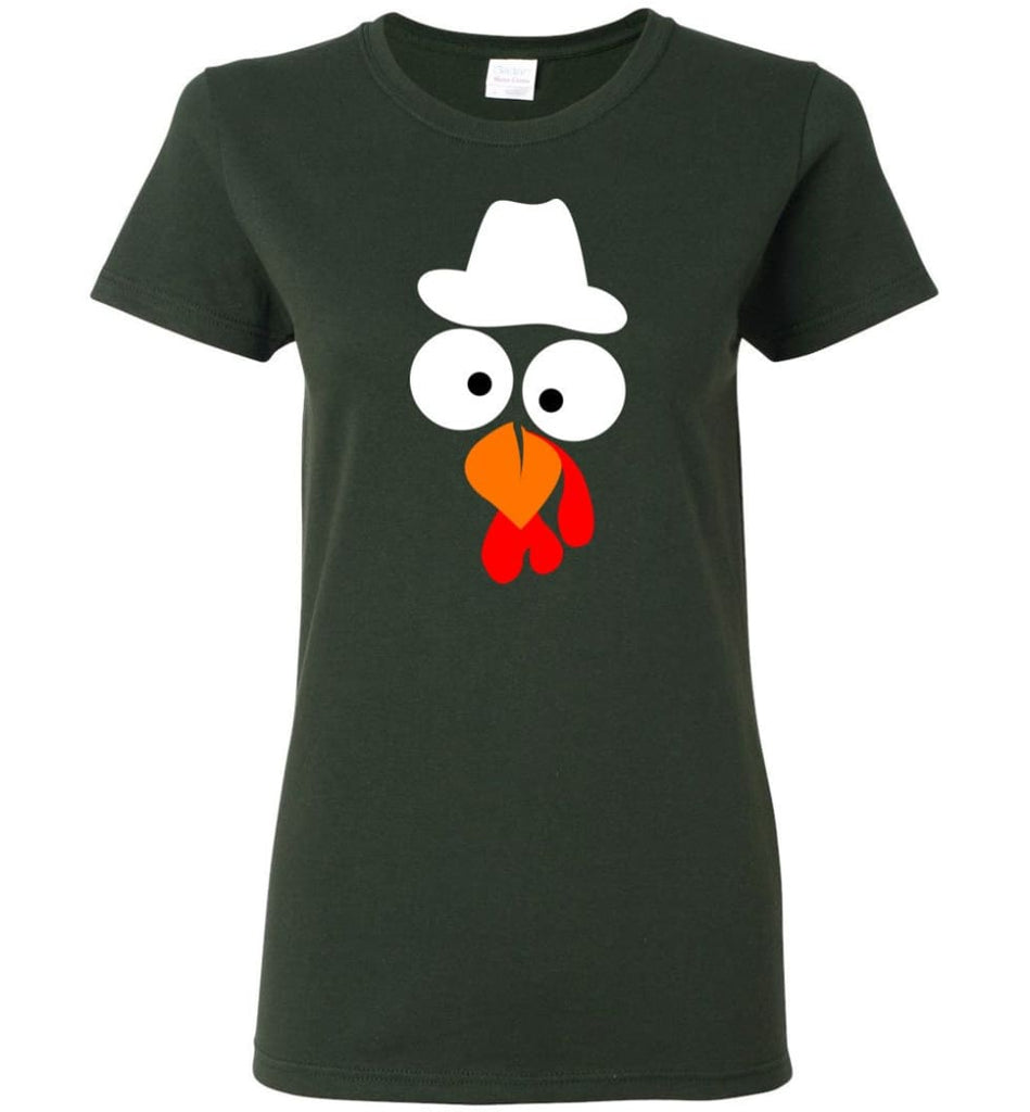 Turkey Face Cowboy Thanksgiving Gifts Women Tee - Forest Green / M