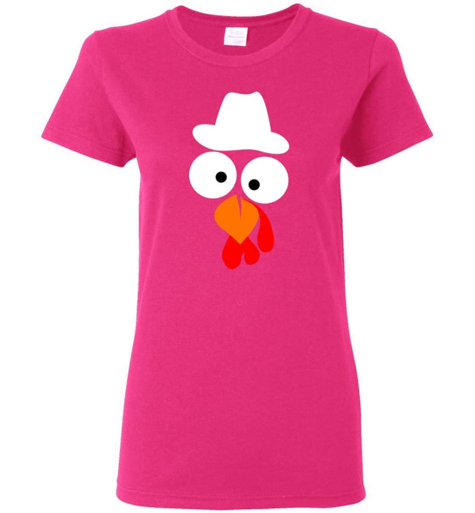 Turkey Face Cowboy Thanksgiving Gifts Women Tee - Heliconia / M