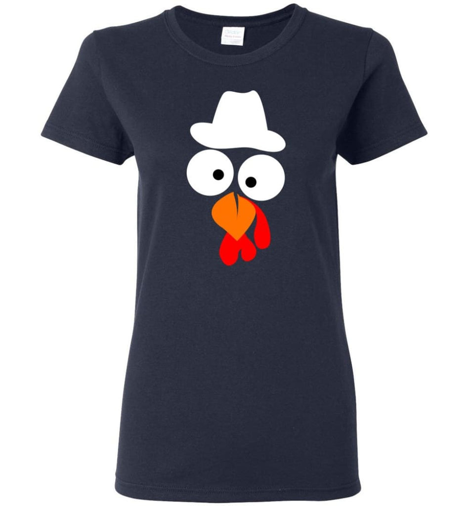 Turkey Face Cowboy Thanksgiving Gifts Women Tee - Navy / M