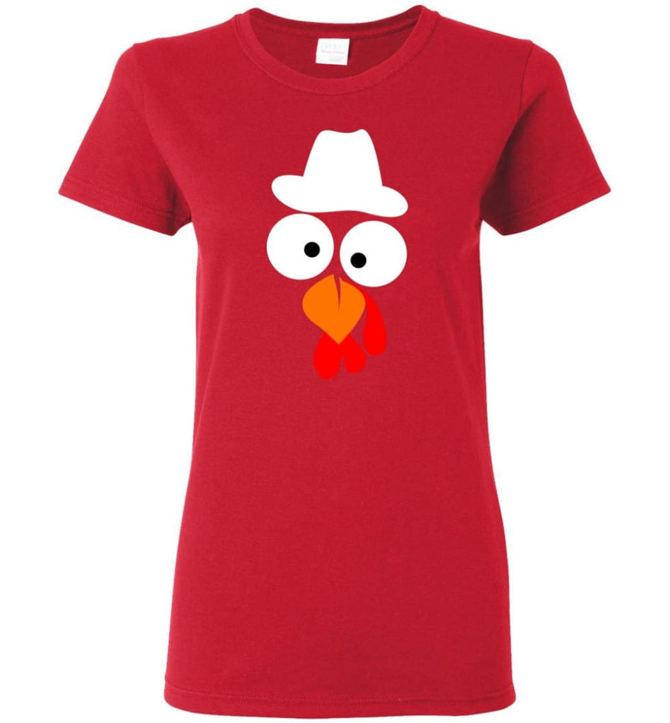 Turkey Face Cowboy Thanksgiving Gifts Women Tee - Red / M