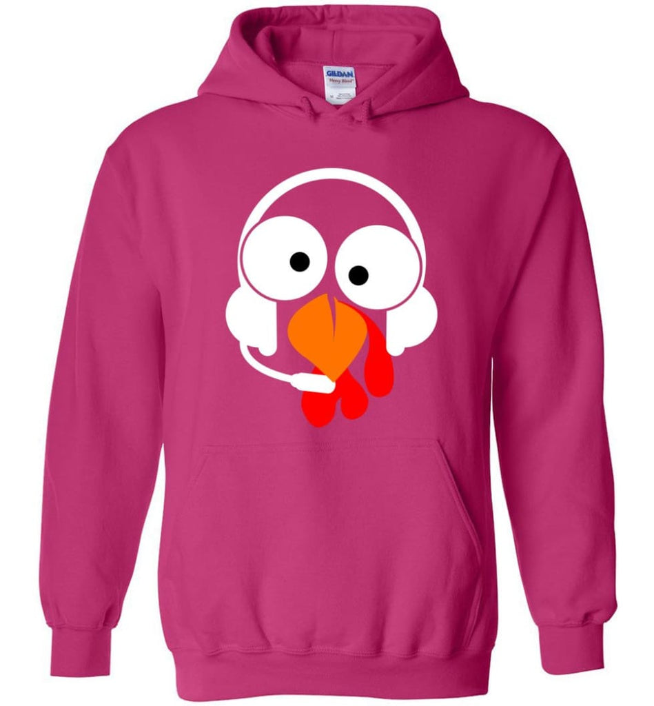 Turkey Face Dispatcher Thanksgiving Gifts Hoodie - Heliconia / M