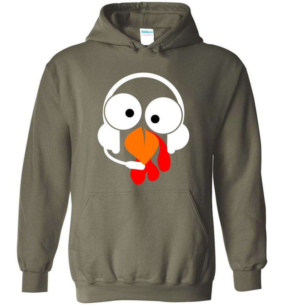 Turkey Face Dispatcher Thanksgiving Gifts Hoodie - Military Green / M