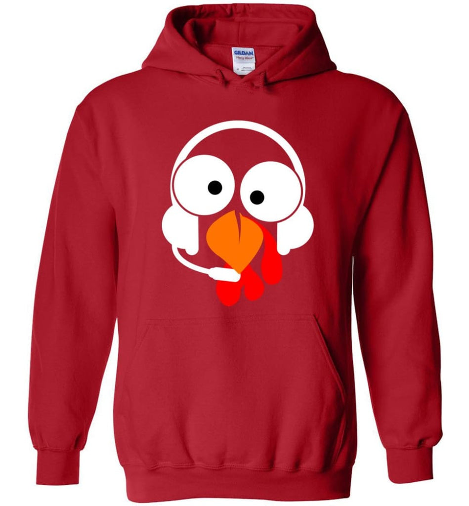 Turkey Face Dispatcher Thanksgiving Gifts Hoodie - Red / M