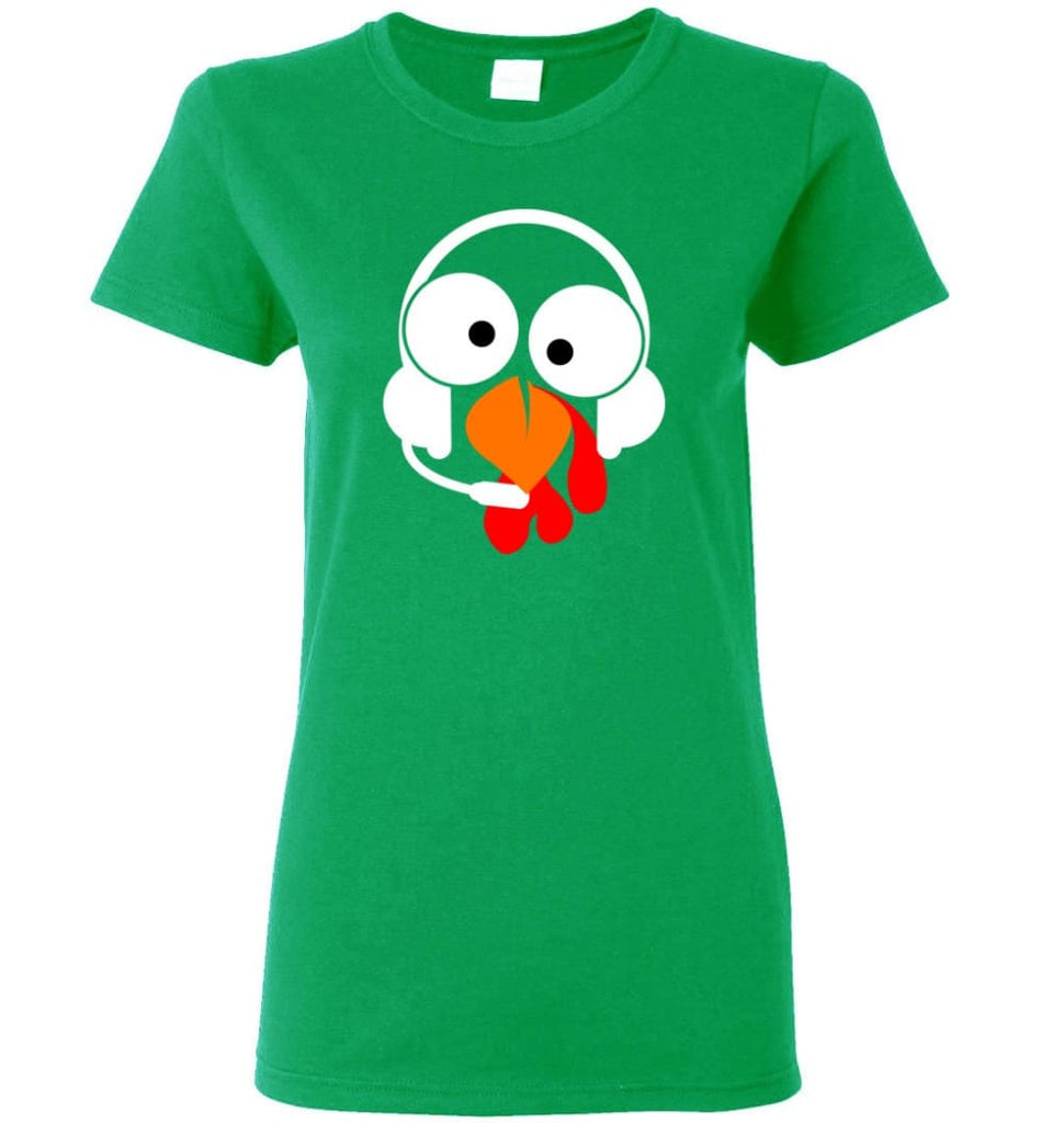 Turkey Face Dispatcher Thanksgiving Gifts Women Tee - Irish Green / M