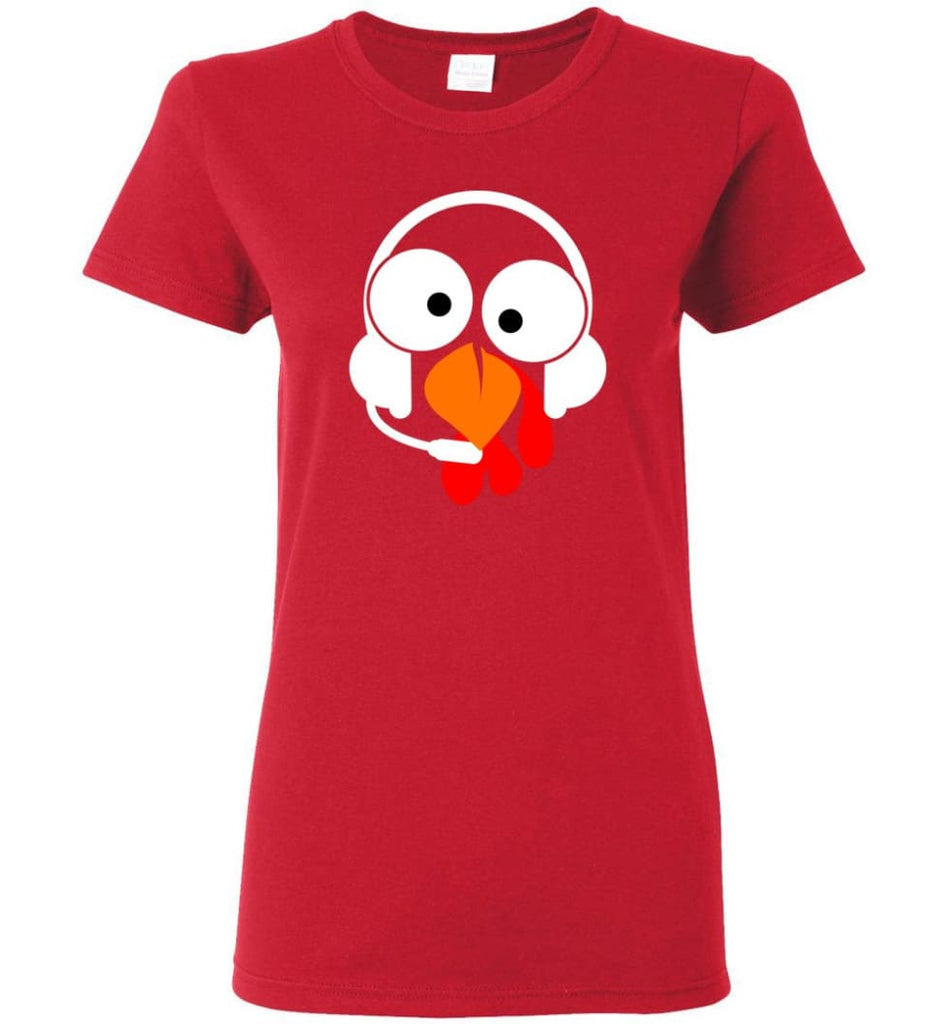 Turkey Face Dispatcher Thanksgiving Gifts Women Tee - Red / M