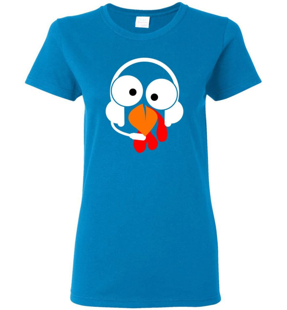 Turkey Face Dispatcher Thanksgiving Gifts Women Tee - Sapphire / M