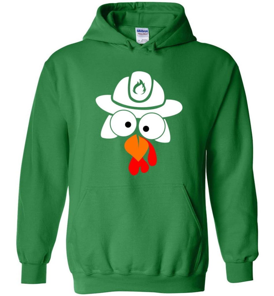 Turkey Face Firefighter Thanksgiving Gifts Hoodie - Irish Green / M