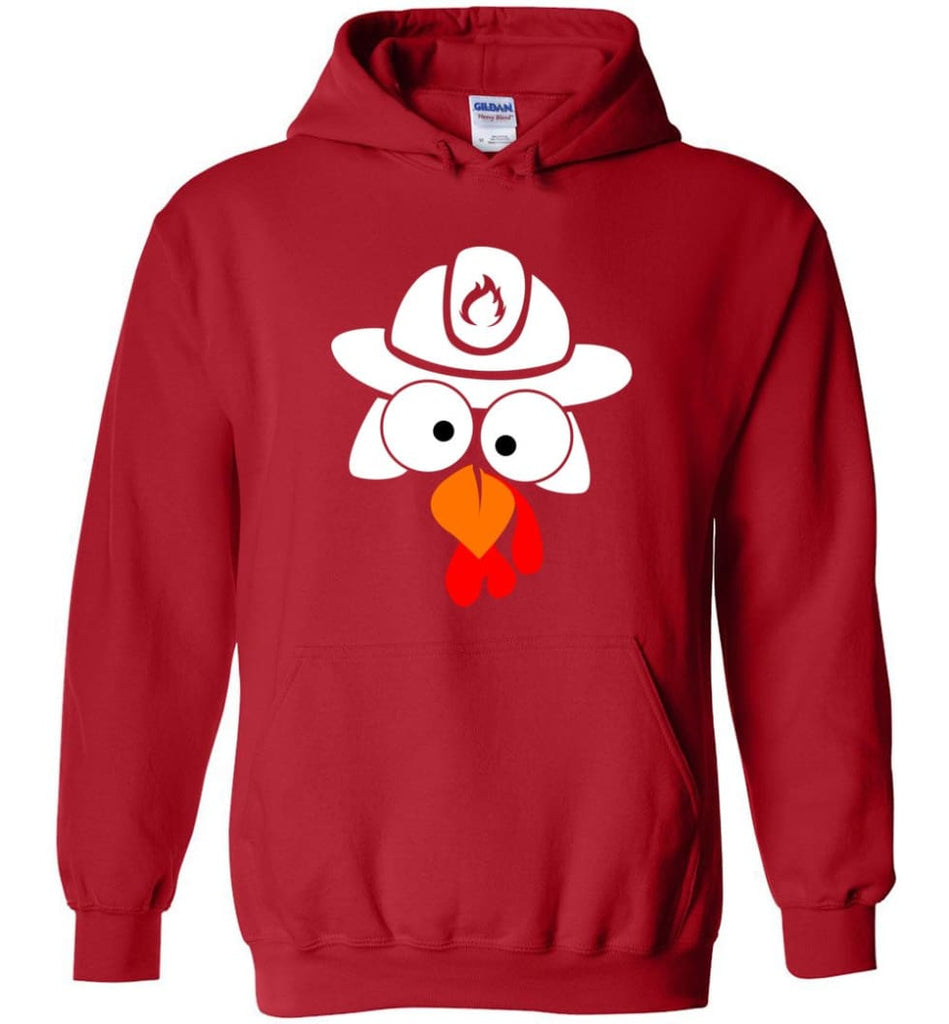Turkey Face Firefighter Thanksgiving Gifts Hoodie - Red / M