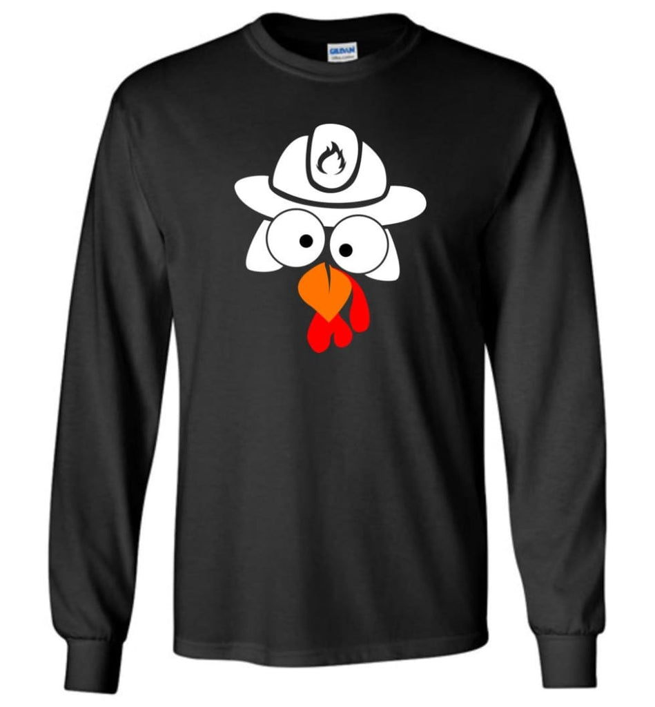 Turkey Face Firefighter Thanksgiving Gifts Long Sleeve T-Shirt - Black / M