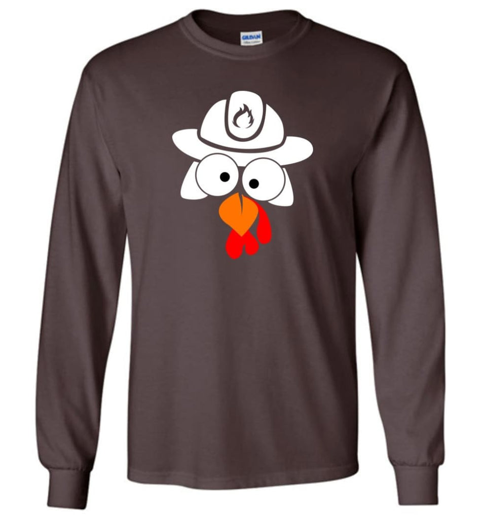 Turkey Face Firefighter Thanksgiving Gifts Long Sleeve T-Shirt - Dark Chocolate / M