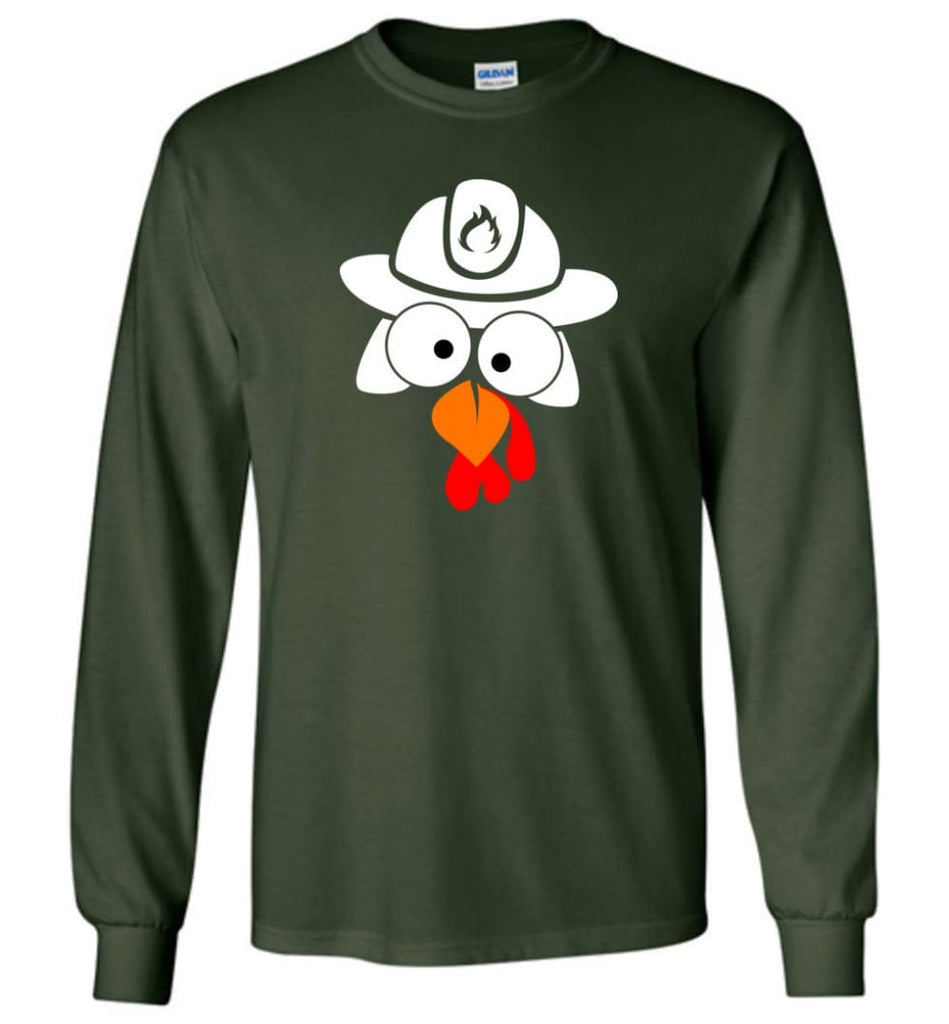 Turkey Face Firefighter Thanksgiving Gifts Long Sleeve T-Shirt - Forest Green / M