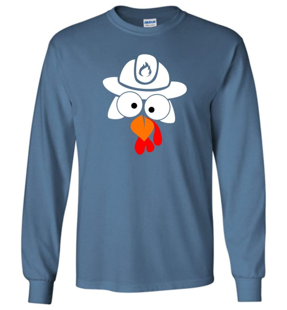 Turkey Face Firefighter Thanksgiving Gifts Long Sleeve T-Shirt - Indigo Blue / M