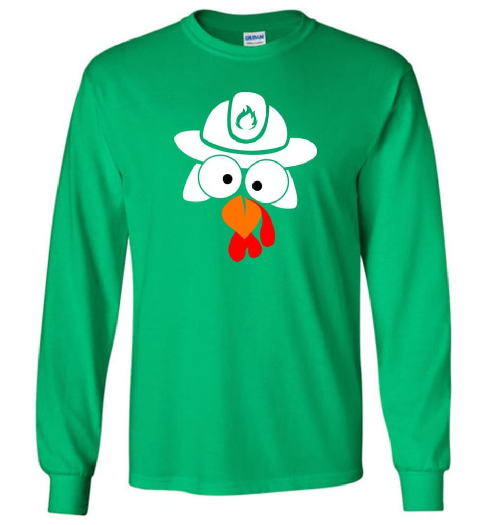 Turkey Face Firefighter Thanksgiving Gifts Long Sleeve T-Shirt - Irish Green / M