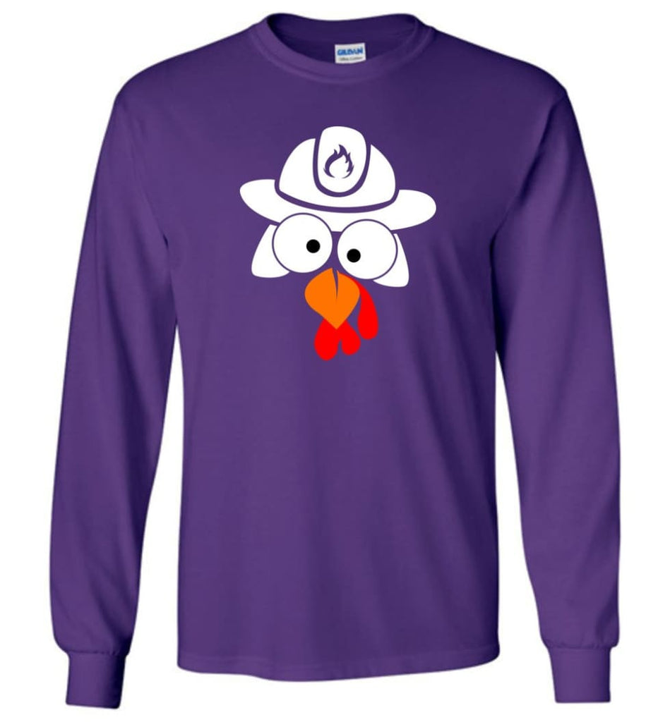 Turkey Face Firefighter Thanksgiving Gifts Long Sleeve T-Shirt - Purple / M