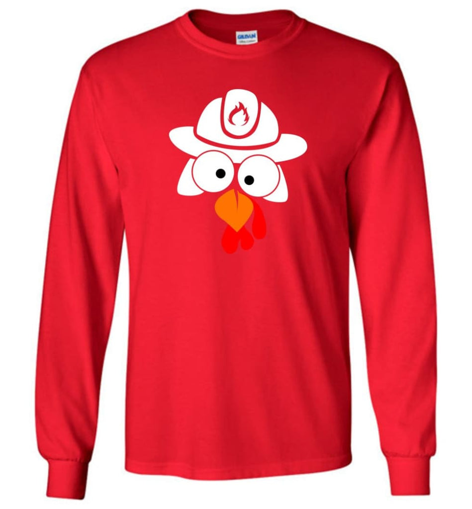 Turkey Face Firefighter Thanksgiving Gifts Long Sleeve T-Shirt - Red / M