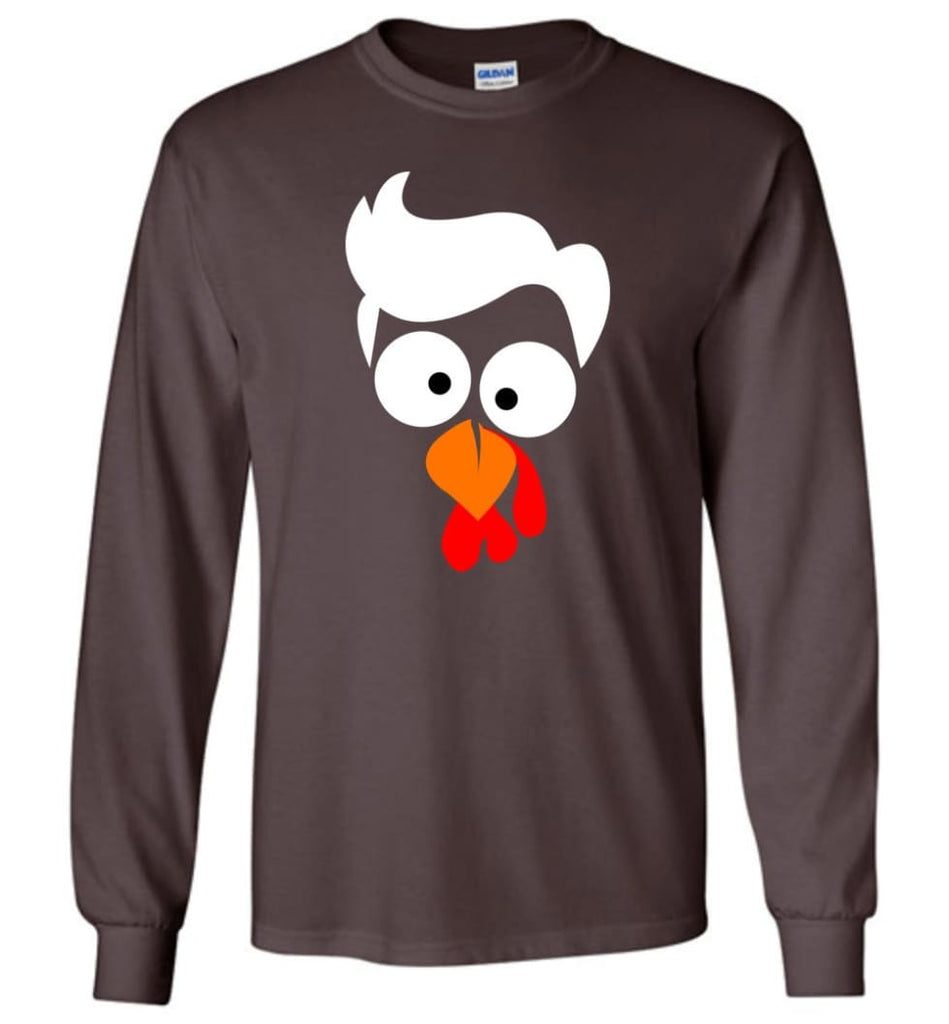 Turkey Face Lawyer Thanksgiving Gifts Long Sleeve T-Shirt - Dark Chocolate / M