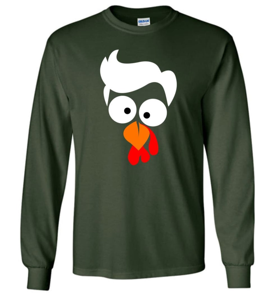 Turkey Face Lawyer Thanksgiving Gifts Long Sleeve T-Shirt - Forest Green / M
