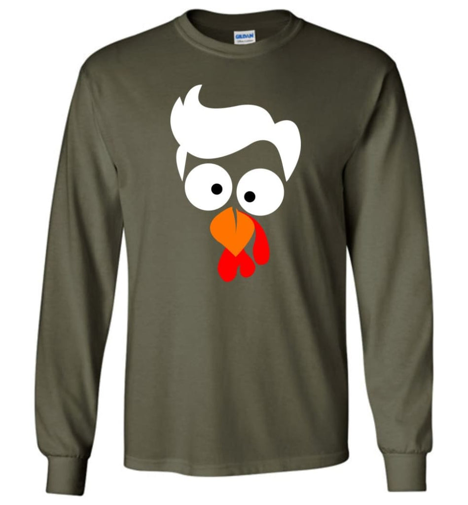 Turkey Face Lawyer Thanksgiving Gifts Long Sleeve T-Shirt - Military Green / M