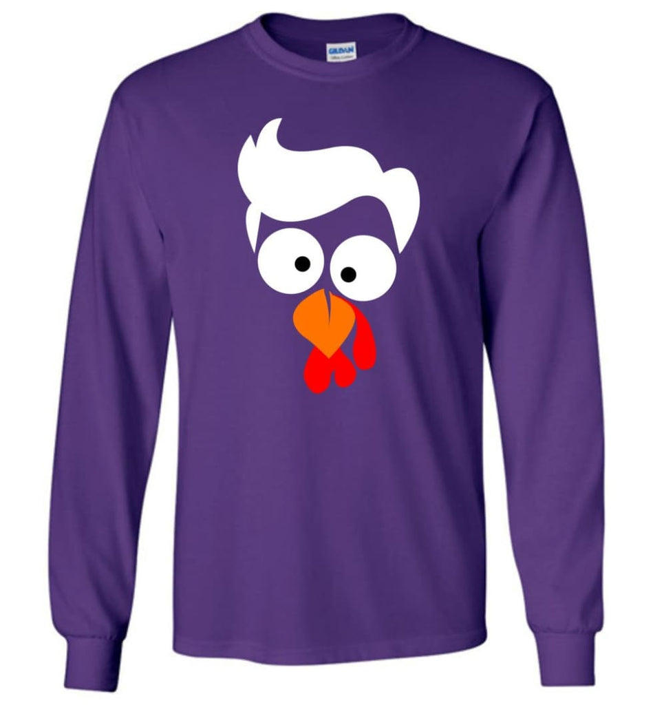 Turkey Face Lawyer Thanksgiving Gifts Long Sleeve T-Shirt - Purple / M