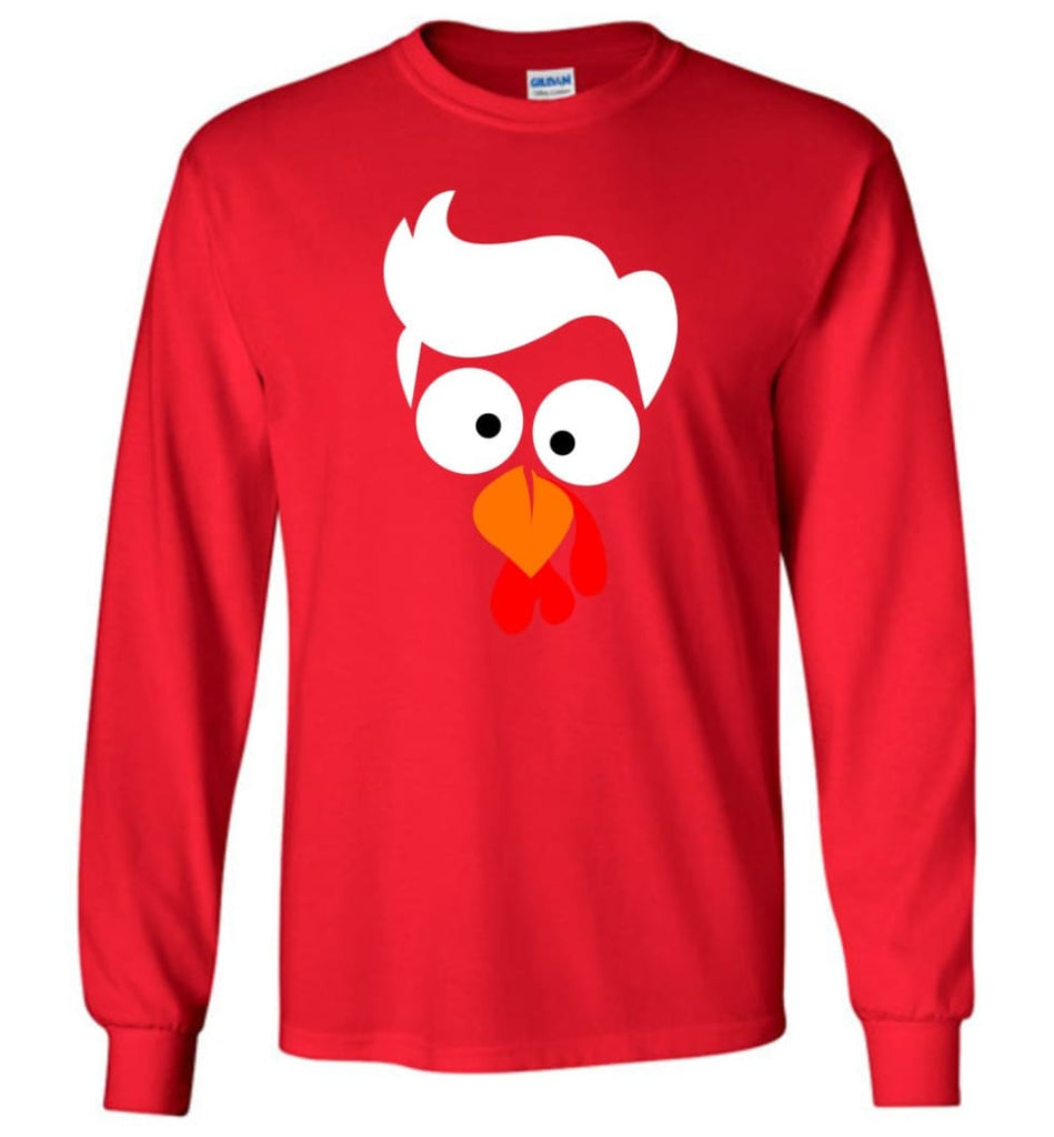 Turkey Face Lawyer Thanksgiving Gifts Long Sleeve T-Shirt - Red / M