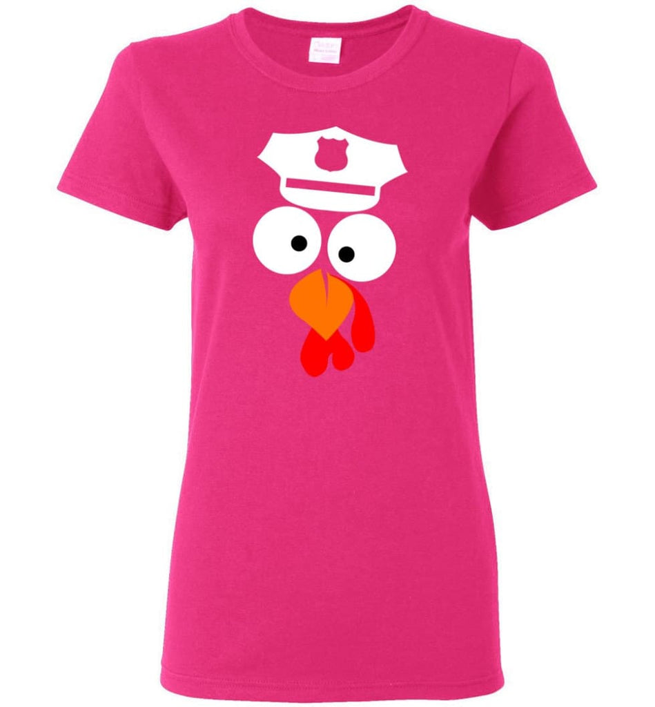 Turkey Face Police Thanksgiving Gifts Women Tee - Heliconia / M