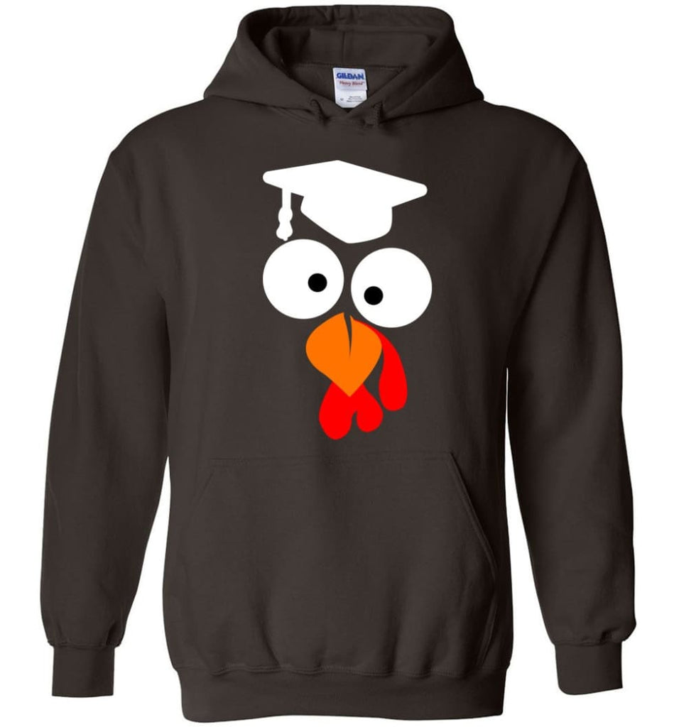 Turkey Face Teacher Thanksgiving Gifts Hoodie - Dark Chocolate / M
