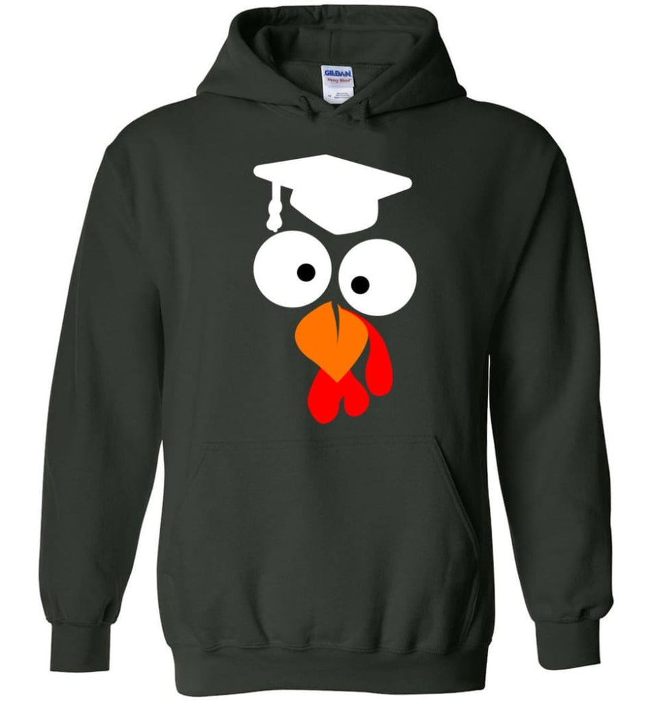 Turkey Face Teacher Thanksgiving Gifts Hoodie - Forest Green / M