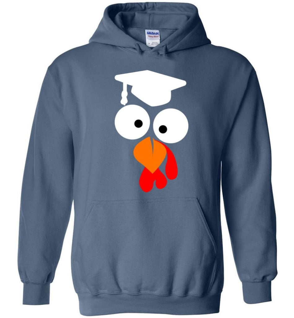 Turkey Face Teacher Thanksgiving Gifts Hoodie - Indigo Blue / M