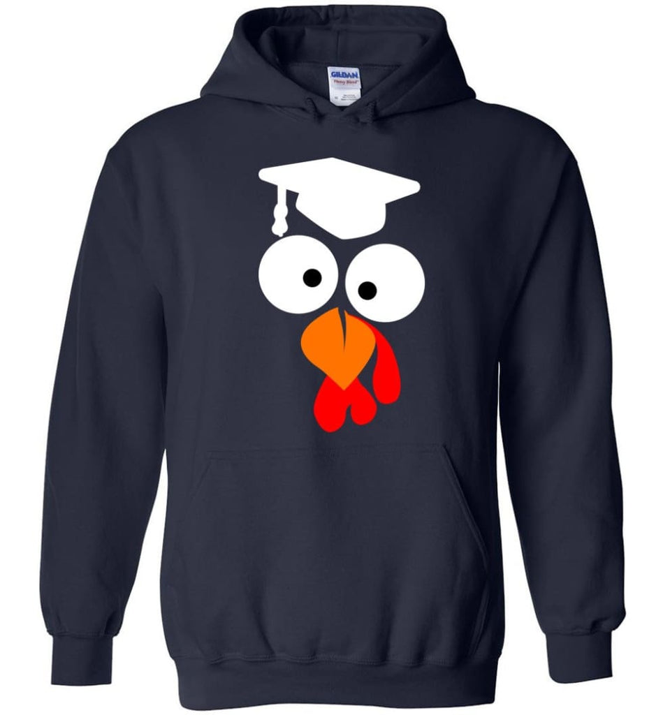 Turkey Face Teacher Thanksgiving Gifts Hoodie - Navy / M