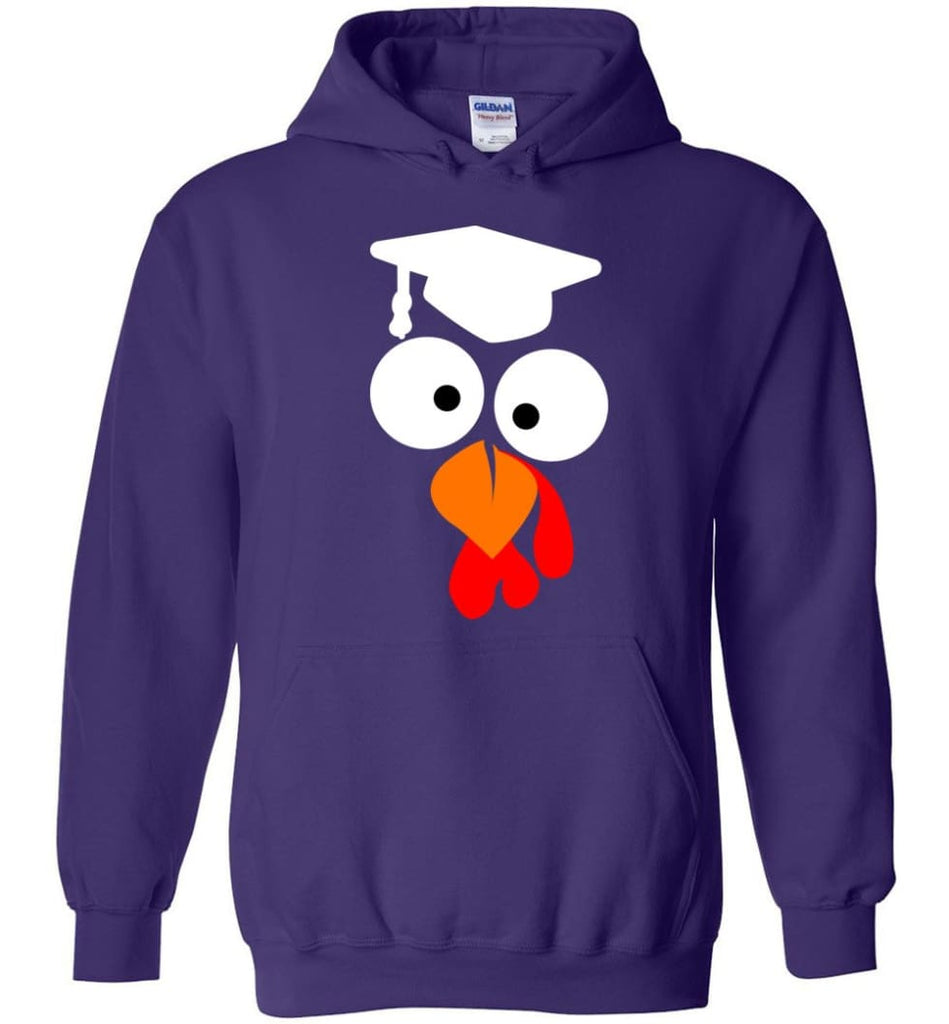 Turkey Face Teacher Thanksgiving Gifts Hoodie - Purple / M