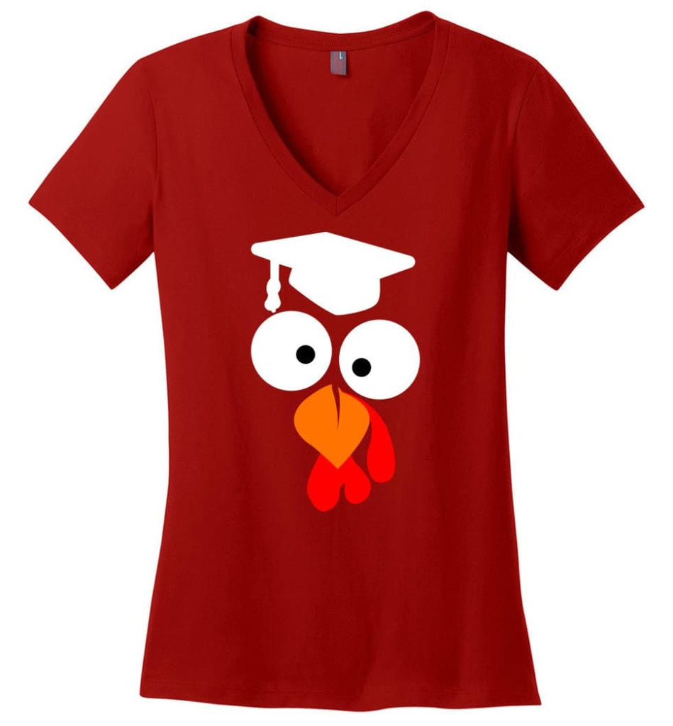 Turkey Face Teacher Thanksgiving Gifts Ladies V-Neck - Red / M