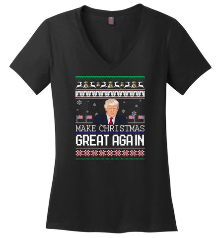 Ugly Christmas Sweater Make Christmas Great Again Jumper Donald Trump Xmas Ladies V-Neck - Black / M
