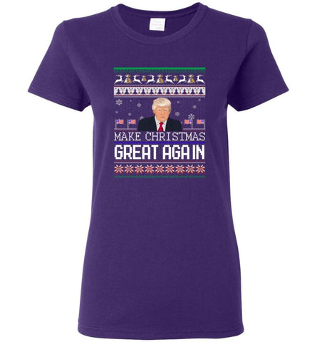 Ugly Christmas Sweater Make Christmas Great Again Jumper Donald Trump Xmas Women T-Shirt - Purple / M